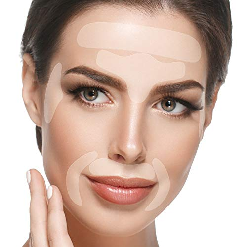 Facial Patches Anti Aging - 165 Gesichts Antifaltenpflaster: Stirn Falten Pads, Augenfältchen Streifen, Falten um Mund & Oberlippenfaltenbehandlung - Wiederverwendbare Falten Entferner Pflaster