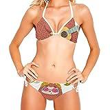Conjuntos de Traje de baño de Dos Piezas de Bikini con Cordones para Mujer, Guitarra de Pereza de Dibujos Animados Lindo