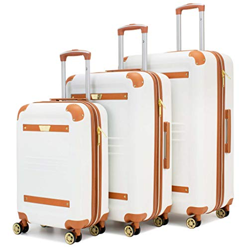 19V69 ITALIA Vintage Expandable Hard Spinner Luggage 3 Piece Set (Smaller White)