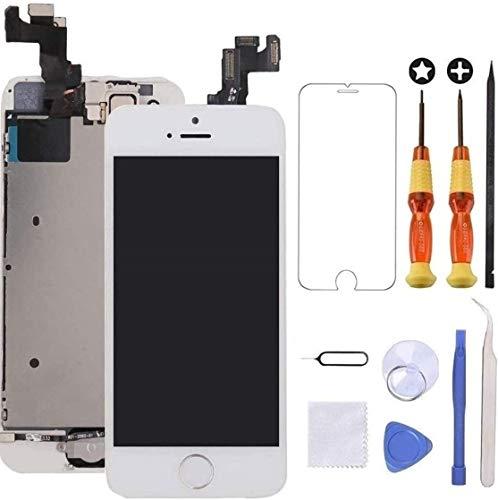 """Brinonac Écran pour iPhone 5s/Se 4,0"""" LCD de Remplacement Complet Préassemblés Capteur de Proximité, Caméra Frontale, Écouteur et Bouton Home avec Kit de Réparation (Blanc)"""