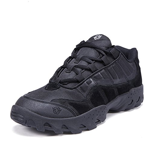 emansmoer Homme Imperméable Respirant Outdoor Sport Chaussures de Randonnée Trekking Low-Top Lace-up Combat Sneakers (43 EU, Noir)