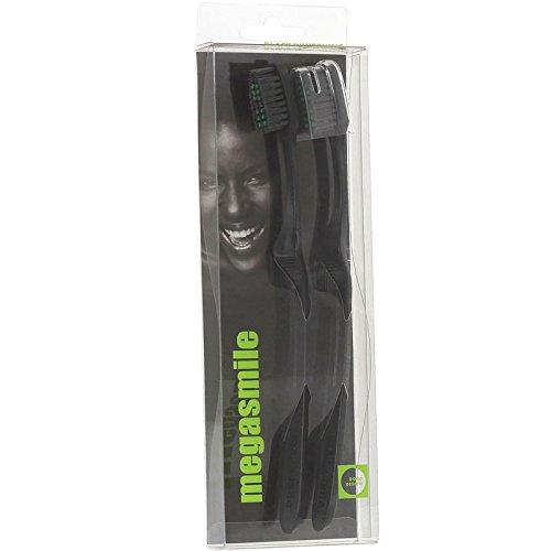 megasmile black whitening Zahnbürste 4er Pack (2 x 2 Stück) zufällige Farbe