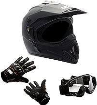 MMG 30 Combo Adult Motorcycle Off Road Helmet DOT, MX ATV Dirt Bike Motocross UTV, M, Matte Black, Includes Riding Gloves and Goggles