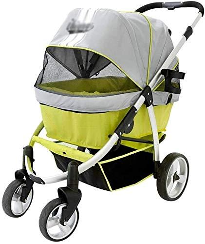 LAZNG Pet Bag Pet Stroller for Katzen/Hunde, 4-Rad, Zipperless Eintrag, Weather Cover inklusive, Easy One-Hand...