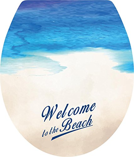 Boodecal Welcome to The Beach - Toilet Lid Cover Stickers for Bathroom Seat Peel and Stick Decals 15x 12 Inches