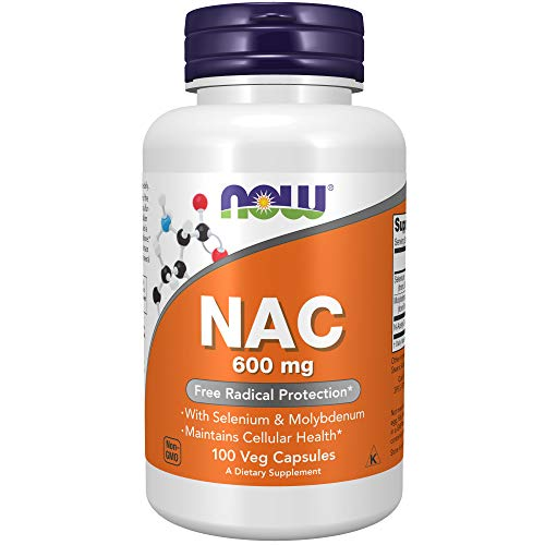 NOW Supplements, NAC (N-Acetyl Cysteine)600 mg with Selenium & Molybdenum, 100 Veg Capsules