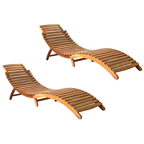 vidaXL 2X Akazienholz Massiv Sonnenliege Klappbar Gartenliege Liegestuhl Holzliege Saunaliege Gartenmöbel Relaxliege Liege Garten Terrasse
