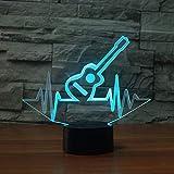 Lampe de nuit 3D Maison, 7 Changement de couleur Visual Ecg Beat Guitare Modélisation Musique...