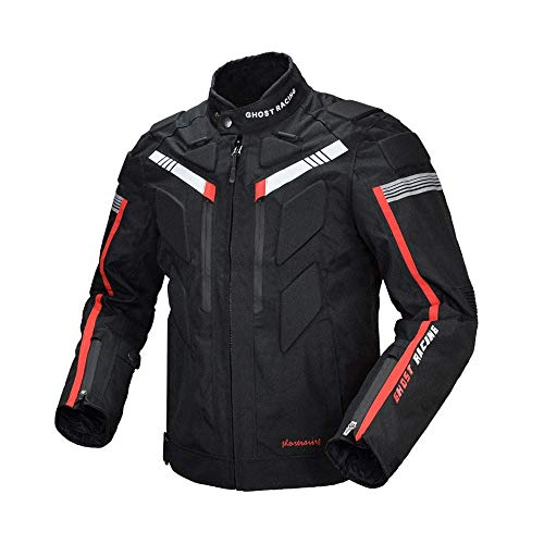GR バイクジャケット バイクスーツ 防風防寒オックスフォード 保温 レーシング ライダースジャケット プロテクター付き メンズ (XXXL, 黒)