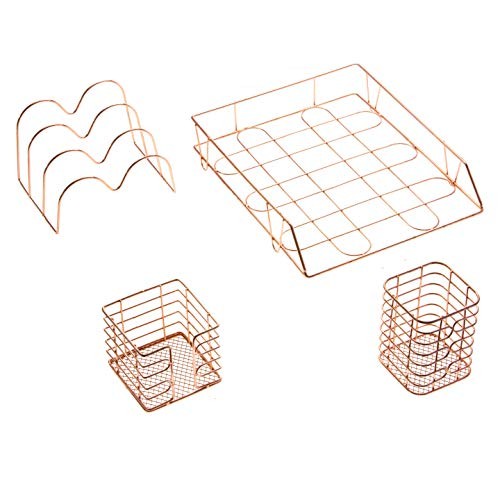 oro rosa suministros de oficina accesorios, organizador Set 4 piezas para escritorio de negocios | soporte de metal para mujeres