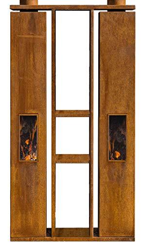 FeuerCampus365 EMPIRE DUO drehbarer Doppel-Gartenkamin aus Cortenstahl mit Holzlager
