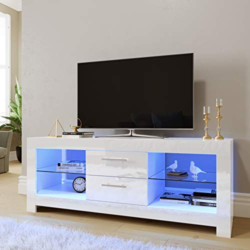"""ELEGANT 1300mm Modern High gloss TV Stand Cabinet with LED Light for 22""""-52"""" Flat Screen 4k TVs/Living Room Bedroom Furniture TV Cabinet with Shelves and Drawers for Media Storage,White"""