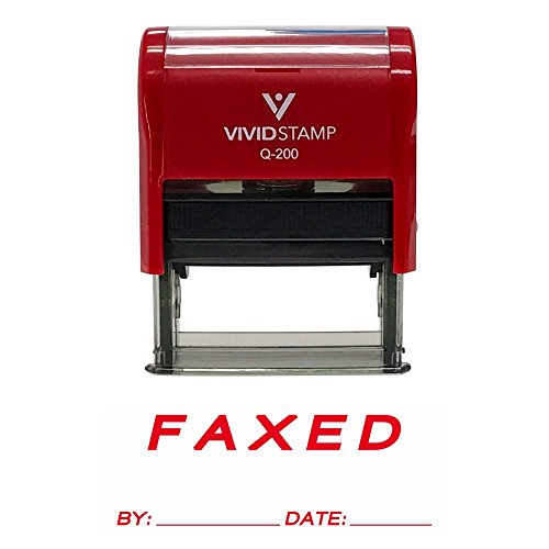 FAXED by Date Self Inking Rubber Stamp (Red Ink) Medium