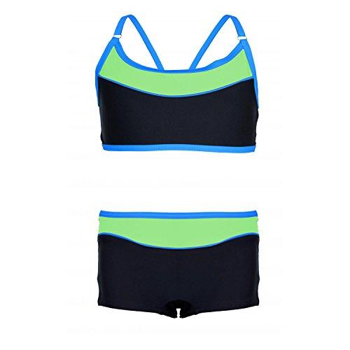 Aquarti Mädchen Sport Bikini - Badehose & Racerback Oberteil, Farbe: Schwarz/Grün, Größe: 122