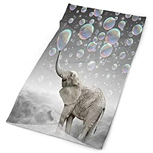Nicokee Hand Face Head Guest Gym Towel Elephant Blowing Bubbles Quick Dry Towel for Bathroom Gym Home Outdoor 9.8 X 19.7 Inch
