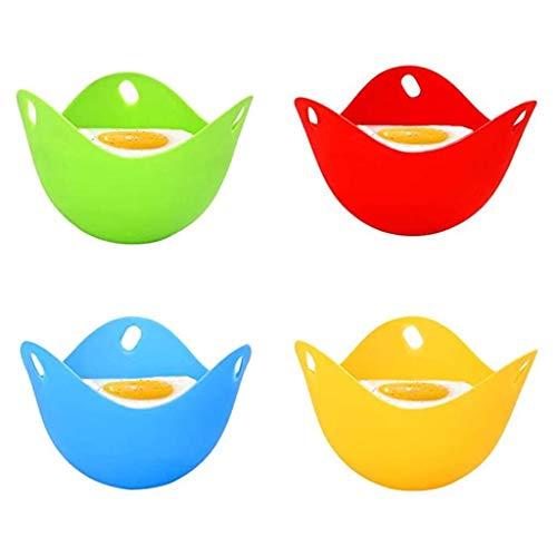 4 Pack Silicone Egg Poacher Poaching Cups, BPA Free Cook Poach Pods Poached Baking Cup, Kitchen Cookware - Egg Cooker Microwave/Egg Boiler/Egg Cup/Egg Poacher Pan (4 Colors)