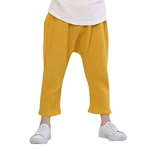 Sunenjoy Pantalon Garçon Fille Sarouel Élastique Pantalon Coton Lin Jogging Running Loose Casual Mode Mignon pour Enfant 2-8 Ans (6-7 Ans, Jaune)