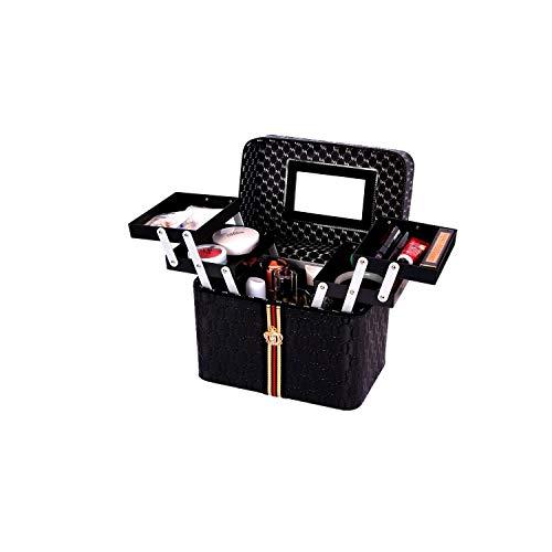 Organisateur de porte-balais | Organisateur de maquillage multicouche portable avec poignée étanche multifonctionnel support cosmétique rouge à lèvres vernis à ongles boîte à bijoux-noir-