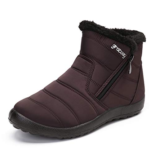 gracosy Warm Snow Boots, Women's Winter Ankle Bootie Anti-Slip Fur Lined Ankle Short Boots Waterproof Slip On Outdoor Shoes Brown 9 M US