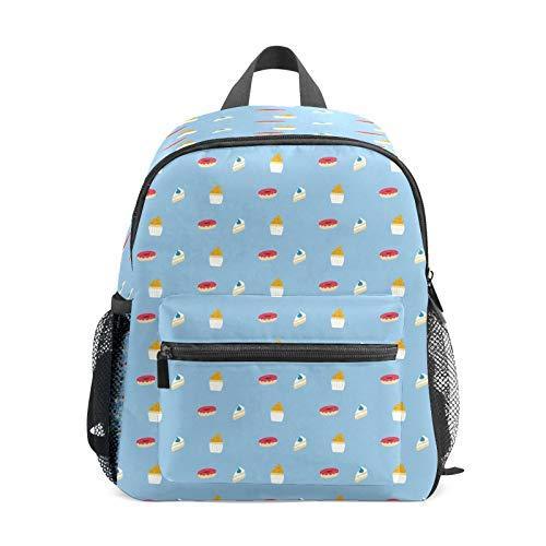 Mochila infantil para niños de 1 a 6 años de edad, mochila perfecta para niños y niñas de preescolar, magdalenas, postre, donut, azul claro