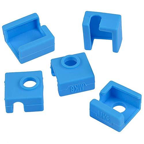 Amacoam Coperchio in Silicone per Blocco Stampante 3D Silicone Resistenza alle Alte Temperature MK7 MK8 MK9 Hotend Compatibile per Creality CR-10,10S, S4, S5, Ender 3, ANET A8 5 Pezzi Blu