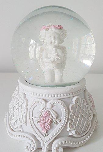 Féeries et merveilles Figurine Ange, Tres Grande Boule A Neige Ange (HT 15 cm), Statuette Ange