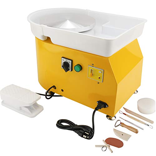 HighFree 350W 25CM Electric Pottery Wheel Machine DIY Clay Tool with Foot Pedals and Detachable Washable Basin with Clay Sculpting Tools (Yellow)