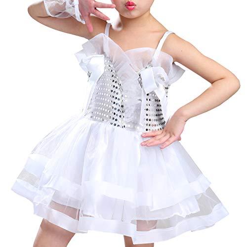 dPois Vestido Maillot de Ballet Danza para Nia Tut Princesa Vestido Lentejuelas Brillantes Vestido de Patinaje Artistico Disfraz Traje Bailarina Blanco 11-12 aos
