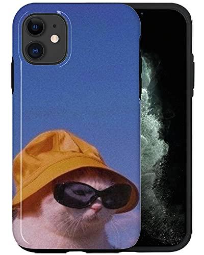 JUSPHY Funda para teléfono compatible con iPhone 12, gato con gafas de sol DP424 estética diseñador de moda lujo lindo patrón accesorios teléfono
