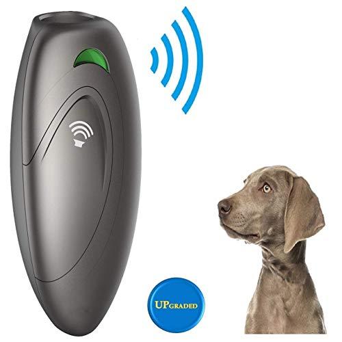 Ultraschall Hunde Repeller und Trainer Gerät Anti Bellen Stop Rinde Handheld Hunde Trainingsgerät Anti-Bell Ultraschall Gerät für Hunde Bellkontrolle 100% sanft & sicher (Grau)