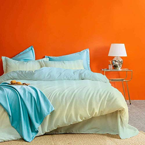 prunushome Teal 3 Pieces Duvet Cover Defocused Abstract Design in The Center Blurred Color Elements Sky Blue Like Artwork Best Material/Highly Durable Baby Blue King Size (No Quilts and Inserts)