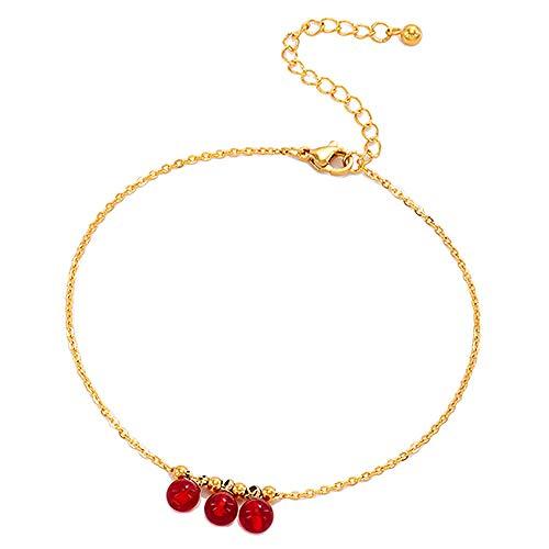 U/N Tassel Red Ball Anklet Bracelet Titanium Steel Leg Chain Women's Girl Red Bead Foot-1