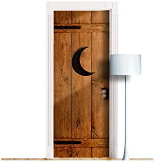 Outhouse Door. ONE Piece Sticky Mural, Decole, Skin, Wrap, Decal, Cover, Poster for Door, Wall or Fridge (Moon. Right knob, 30