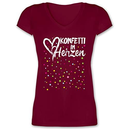 Karneval & Fasching - Konfetti im Herzen - weiß - S - Bordeauxrot - Frauen Tshirt - XO1525 - Damen T-Shirt mit V-Ausschnitt