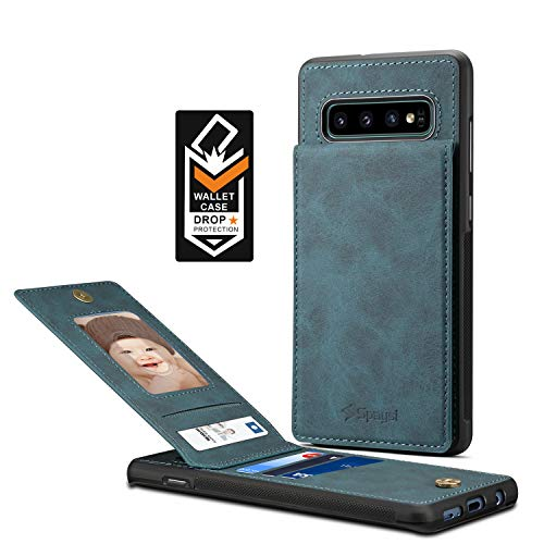 Spaysi Samsung Galaxy S10 Plus Card Holder Case, S10 Plus Wallet Case Slim, Galaxy S10 Plus Folio Leather case, Flip Cover, Gift Box, for S10 Plus (Blue)