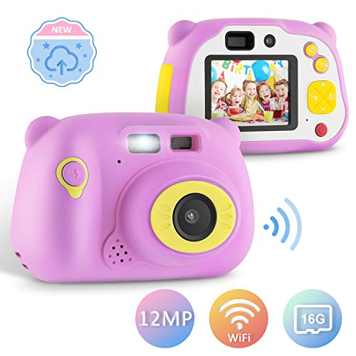 YISSVIC | Kindercamera | WiFi | 12 MP | HD | Digitale camera | 16 GB TF-kaart | Oplaadbaar