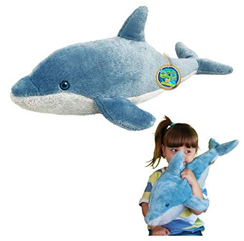 Juguete Suave del delfín de EcoBuddiez, Grande (los 51cm) - Juguete Suave y mimoso de la Felpa de Deluxebase. Hecho de Las Botellas plásticas recicladas. Regalo mimoso niños.