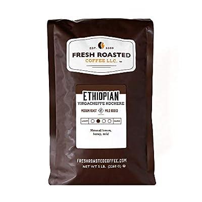 Fresh Roasted Coffee LLC, Ethiopian Yirgacheffe Kochere Coffee, Medium Roast, Whole Bean, 5 Pound Bag