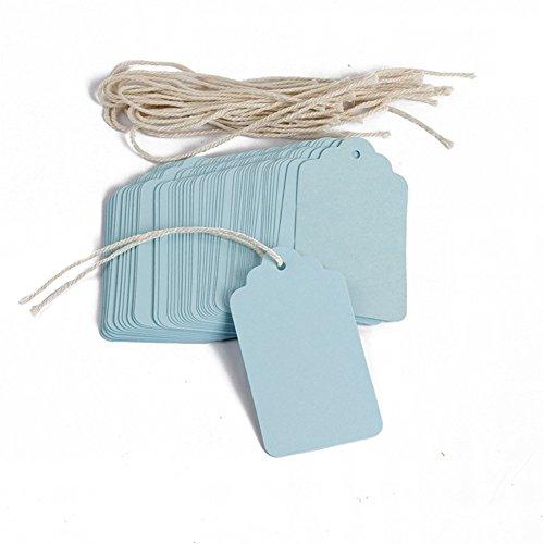 Prise papier balises fabriqués rectangle étiquette pour bagage étiquette cadeau de mariage étiquettes en papier Shop Prix étiquettes Lot de 100pcs 4*7CM bleu