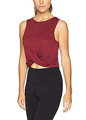 Bestisun Workout Clothes Sports Crop Tops Active Wear Yoga Tank Tops Hiking Pilates Shirts Wine Red L