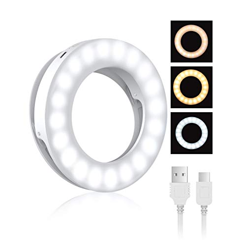 Selfie Ring Light, BlitzWolf Selfie Clip LED Ricaricabile con Luminosità Regolabile a 40 LED, Lampada Anulare Trucco per iPhone X XR XS MAX 7 8 Plus 11 Pro Laptop iPad Android (Bianco)