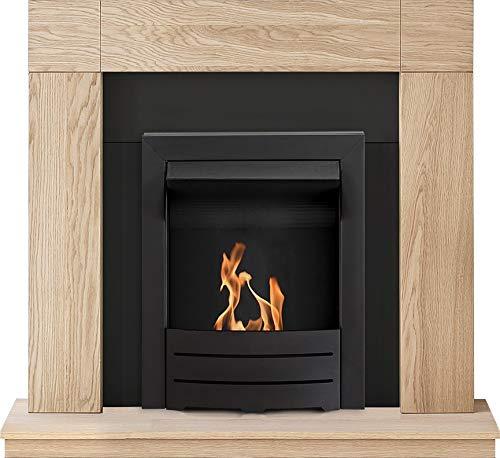 Adam Malmo Fireplace Suite in Oak with Colorado Bio Ethanol Fire in Black, 39 Inch