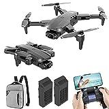 JJDSN Quadcopter RC Plegable, Drone con cámara 4K HD para Adultos, Drones con Control Remoto Recargable, Quadcopter con Motor sin escobillas, FPV Live Video, 2 baterías y Mochila