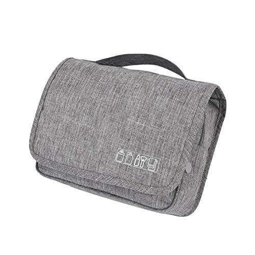 TOPBATHY Travel Hanging Cosmetics Jewelry Bag Handle Makeup Storage Bag Portable Large Capacity Case for Travel or Home (Grey)