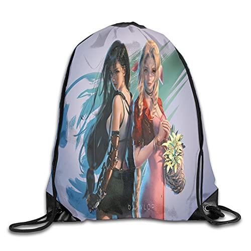 Mochila unisex con cordón para gimnasio, para adultos y niños, bolsa de deporte, bolsa de polietileno para niños y niñas, saco para senderismo, correr, fútbol, viajes, anime Final Fantasy