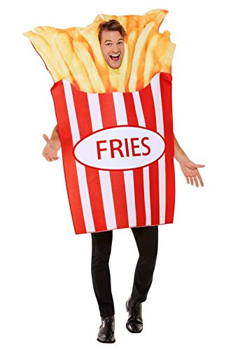 Smiffys French Fries Costume Disfraz de patatas fritas francesas, color rosso, Talla única (55008)