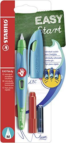 Ergonomischer Schulfüller für Rechtshänder mit Standard-Feder M - STABILO EASYbirdy in himmelblau/grasgrün - Einzelstift - Schreibfarbe blau (löschbar) - inklusive Patrone und Einstellwerkzeug