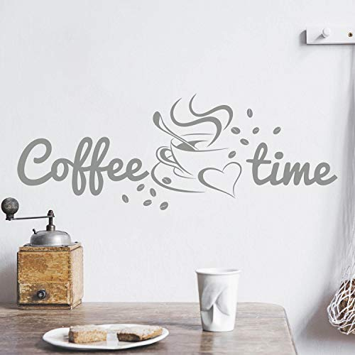 Coffee TIME Wandtattoo Sticker Aufkleber Kaffeezeit Kaffee Zeit (50cm (B) x 18cm (H), Grau)