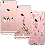 [3 Pack] Funda iPhone 6 Plus, Funda iPhone 6S Plus, Funda de Silicona Blossom01 Ultra Suave Funda TPU Silicona con Dibujo Animado Lindo para iPhone 6 Plus / 6S Plus - Flamingo & Jirafa & Pingüino