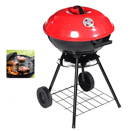 WSN 17 Zoll Holzkohlegrill, Trolley BBQ Barbecue Grills, Barbecue Grills Tragbarer Holzkohlegrill, für Garten Indoor Outdoor Camping Kochen